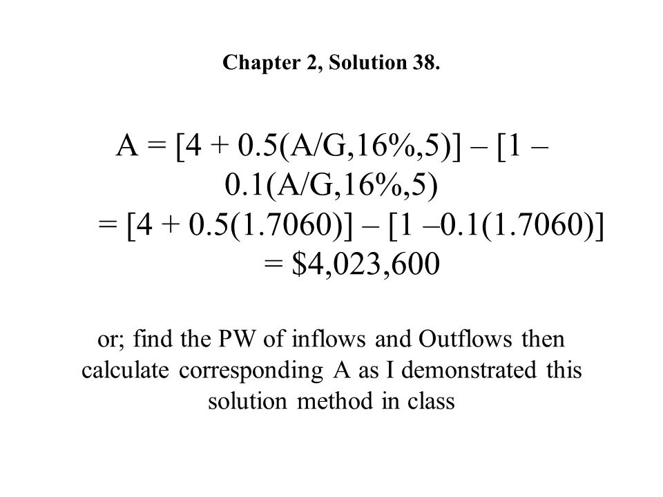 Chapter 2, Solution 38. A = [4 + 0. 5(A/G,16%,5)] – [1 –0